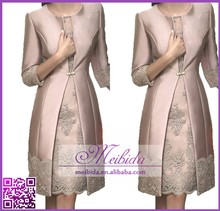 2015 Fashion Lace Appliques Knee Length Mother Of The Bride Dress with Jacket
