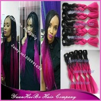 """Stock! cheap price 20"""" fold two tone colored synthetic ombre braiding hair"""