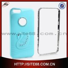 Hotsale colorful swan diamond design pc tpu mobile phone case for iphone 6--light blue