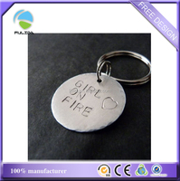custom simple round engrave letters metal charm Keychain