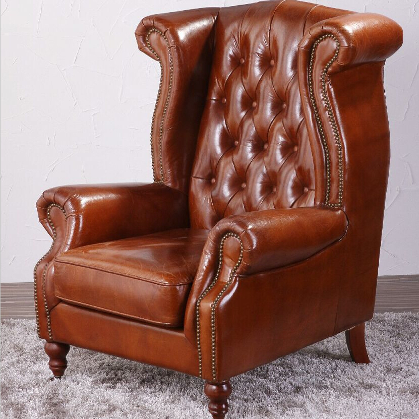 Vintage Wing High Back Armchair In Tan Leather - Buy High ...