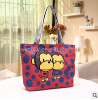 Wholesale 4 colors can choose cute cartoon monkey printed zipper style young girls cotton canvas bag