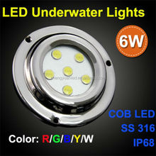 2015 SS316 6W led underwater lights for boats White or Blue water proof IP68