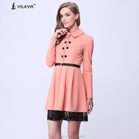 coat style extended lace hem designed elegant yellow office woman hand embroidered dress