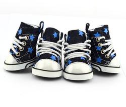 PETSOO Blue Dog Boots Star pattern 100% cotton denim Jean Winter Small Dog Shoes Wholesale [PDS-012B]