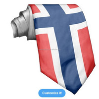 Hot Sale Fashion print ployester Norway flag ties Accept customizing