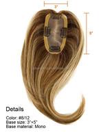 Natural looking mono base unprocessed virgin Brazilian human hair topper