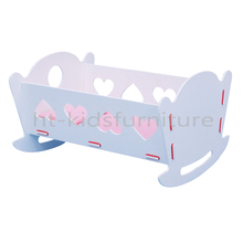 """HT-PDF018 50.5X39X(H)29.5cm E1 MDF Easy Assembly Baby Rocking Crib, 18"""" Wholesale Wooden Doll Craddle With Mattress"""