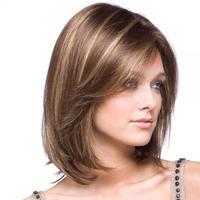 cheap Synthetic Kanekalon Fiber Fashionable Brown Short Wig