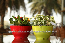 2015 oval glazed plastic pots,colorful flower pot,chinese garden decoration