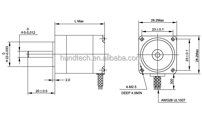 2 phase 2.2inch stepping motor