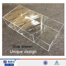 Top quality!acrylic nike shoe box with slider drawer wholesale,transparent plastic shoe drawer box,acrylic display box