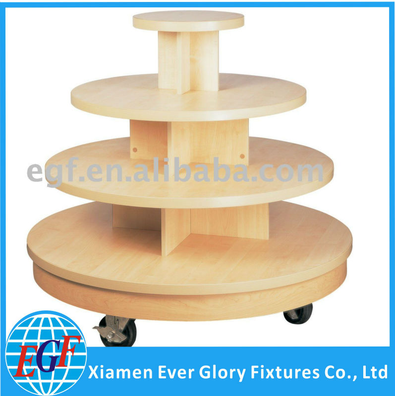 Commercial Wood Top Garments 4 Tiered Retail Display Round