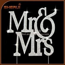 Sparkling Mr & Mrs Monogram Silhouette Crystal Wedding Cake Toppers