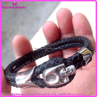 IJB3179 wholesale high quality PU leather stainless steel mens north skull bracelet
