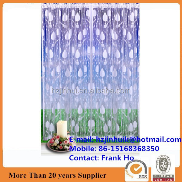 jacquard weave polyester window voile panels and string curtain