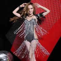 European and American modern dance dress sexy tassel costumes lead dancer Stage dress