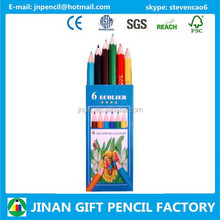 """3.5"""" 6pc Small Mini Colored Pencil in Box with Logo for Promotion"""