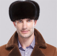 Luxury Design Men's Winter Genuine Mink Fur Russian Hat