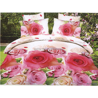 100% polyester 3D flower printed bedding set with 4 pcs