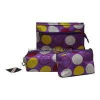 Dots Polyester Waterproof Beautiful Cosmetic Bag,promotional travel bags for men