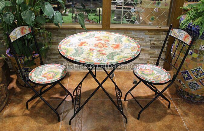 Fer forg table de jardin et chaises c ramique mosa que for Tavoli e sedie in ferro battuto da giardino prezzi