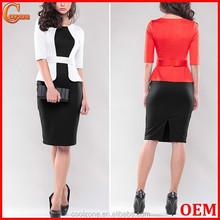 Contrast business woman dress formal ladies office wear dresses dress