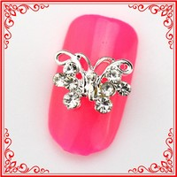 RH1367 Factory Direct Sale Craft Makeup Tools Silver Plated Butterfly Rhinestone Nail Arts