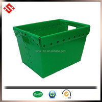 2015 wholesale corrugated plastic polypropylene material nestable tote