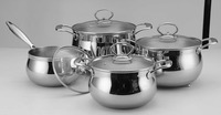 stainless tri-ply Apple Shape 3-ply clad metal cookware set mirror polish sauce pot with lid