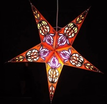 Nepal Hollow Out Style Handmade Colorful Paper Star Lamp Paper Star Lantern Light for Home Decor Mall Decor Bar Decor 60cm