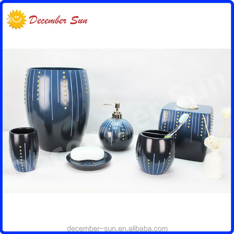 Dark blue bathroom accessories walmart bath sets resin for Blue and gold bathroom accessories