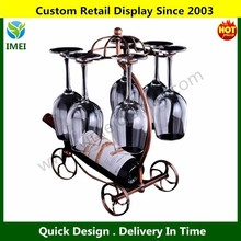 Carriage Wine Rack Valet Alcohol Bottle & Glass Storage Wire Holder Bar Decor Metal Display
