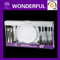 PC-12 disposable plastic dinnerware set with cutlery and plate and cups