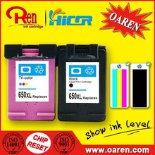 Remanufactured for HP 650 Ink Cartridge Black Show Ink Level