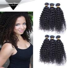 Sunny Queen Hair 5A Grade unprocessed Kinky Curly Virgin Brazilian Hair Weaving Natural Black Brazilian Virgin hair 3pcs lot