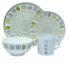 Royal design porcelain-like 45pcs dinner set gold rim dinnerware, plate and bowl