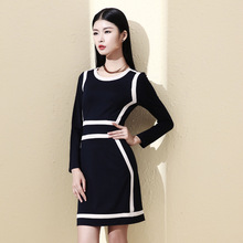 Flowers and autumn 2014 women's European leg of language dress fashion princess dress new wave round neck Slim was thin
