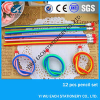 Hot sales HB recycled PVC flexible pencil with eraser Logo available