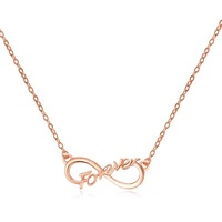 Yiwu SJ Factory Direct Sale SJA120 Trendy Women Plain 925 Sterling Silver Words Shape Rose Gold Plated Pendant Necklace for Lady
