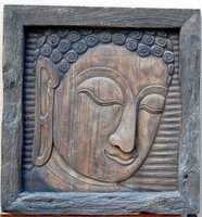 Buddha Face Wooden Carving Crafts,