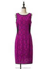 New Fashion Sleeveless Ladies Elegant Purple Lace Evening Dress