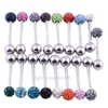 316L Surgical Stainless Steel Rhinestone Crystal Ball Wholesale Tongue Rings