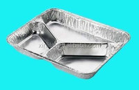 3-section silver food container, aluminium foil food container