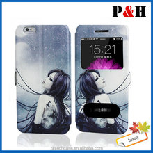2014 newest colored drawing pattern flip wallet leather case for iPhone 6 plus