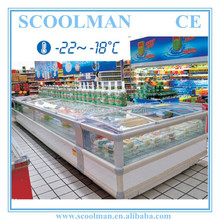 Self-contained Curved Sliding Glass Door Freezer
