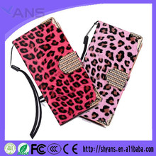 Leopard Print Bling Leather Cell Phone Case For Iphone 5S