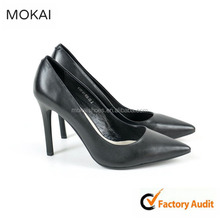 Leather Women High Heel Shoes Black Elegant Office Lady Shoes