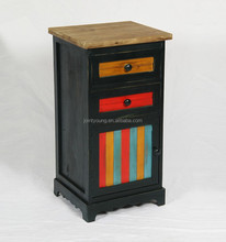 antique colorful wood furniture with two drawers and one door