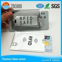 PET aluminum waterproof rfid blocking sleeve case